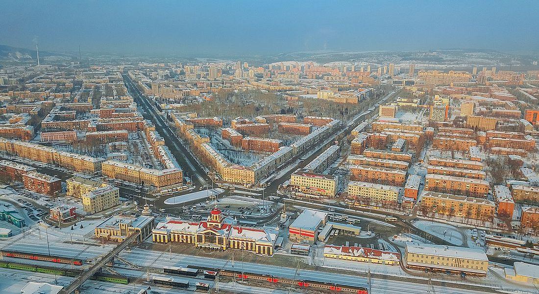 Вид на Новокузнецк и железнодорожный вокзал