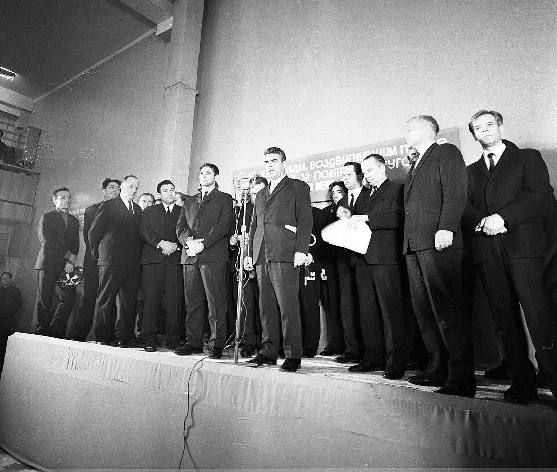 Митинг, посвященный открытию рудника. 29 марта 1971 года