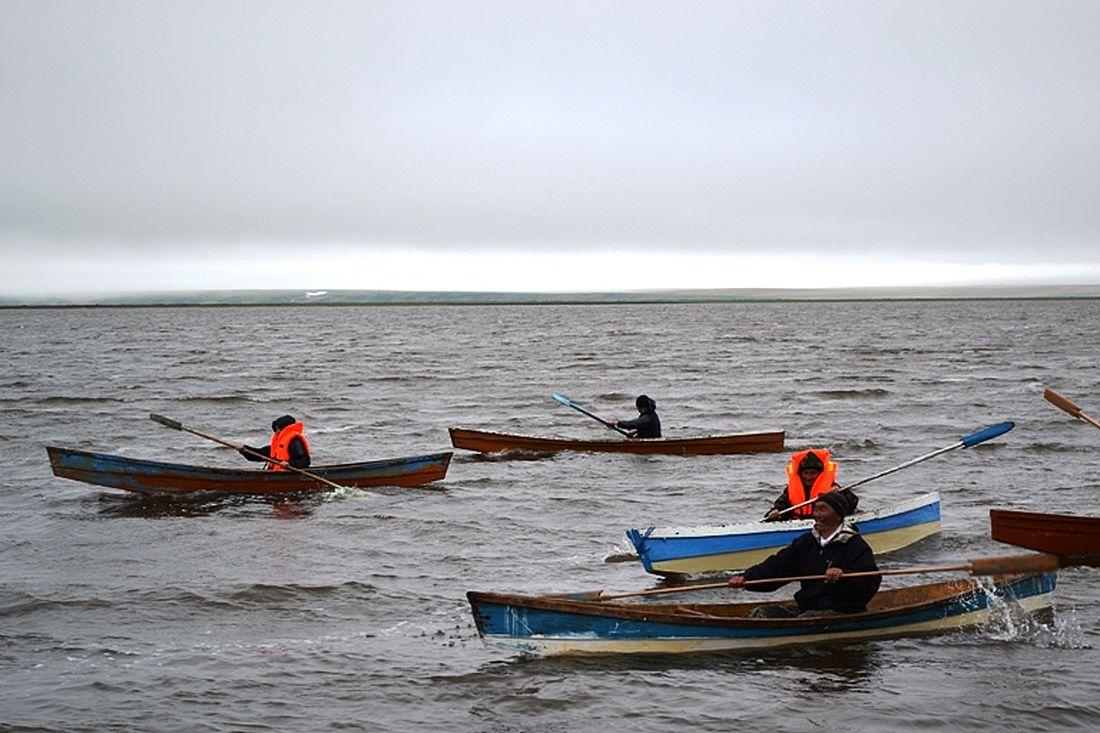 Гонки на лодках, поселок Новорыбная