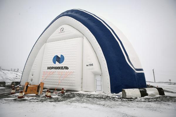 Пневматический ангар установили на предприятии «Медвежий ручей» в Норильске