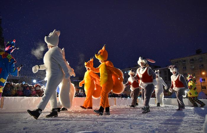 Открытие снежного городка в Норильске