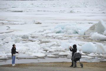 На Енисее в районе Потапово начался ледоход