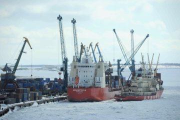 Сегодня из Дудинского порта уходит судно «Надежда» с большой партией файнштейна для Кольской ГМК