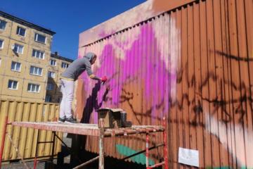 Норильчанка расписала граффити лесопилку во дворе своего дома
