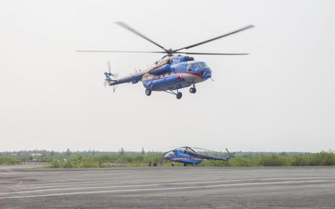 В Норильске отработали тушение пожаров с вертолета